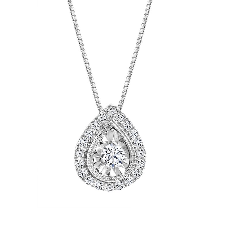 Canadian Rocks Pear Design Diamond Accent Pendant