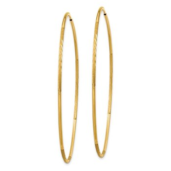 14k 1.25mm Diamond-cut Endless Hoop Earring