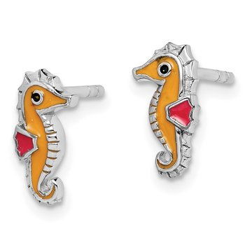 Sterling Silver Rhodium-plated Childs Enameled Seahorse Post Earrings
