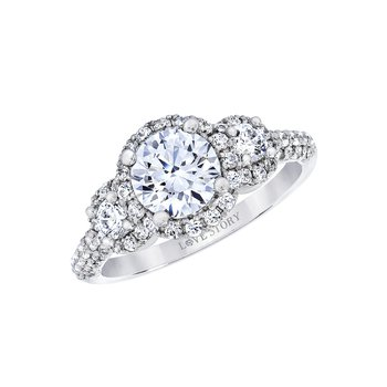 Three-Stone Halo Engagement Ring by Love Story