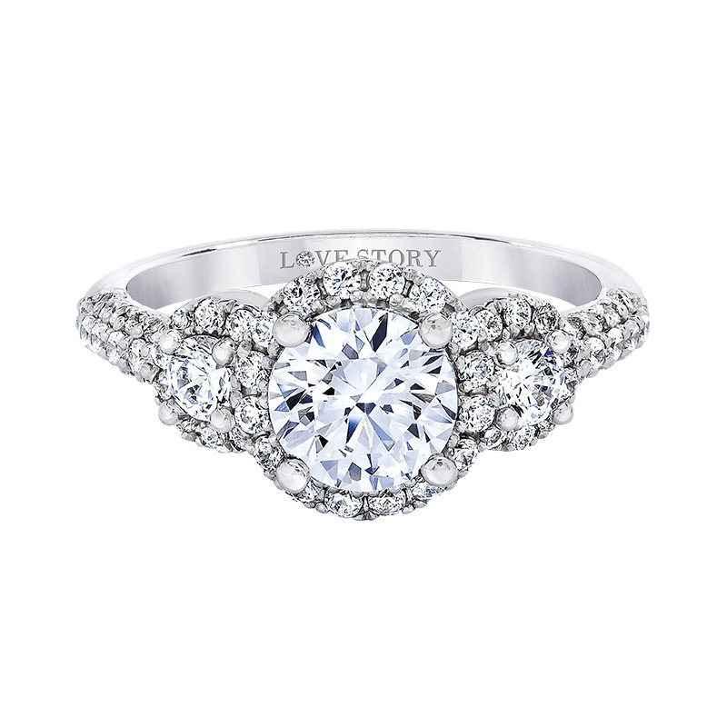 Love Story Diamonds Three-Stone Halo Engagement Ring by Love Story