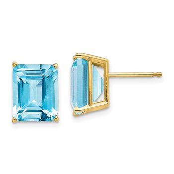 14k 10x8mm Emerald Cut Blue Topaz Earrings