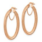 Quality Gold 10k 3x25 Rose Gold Twisted Round Hoop Earrings