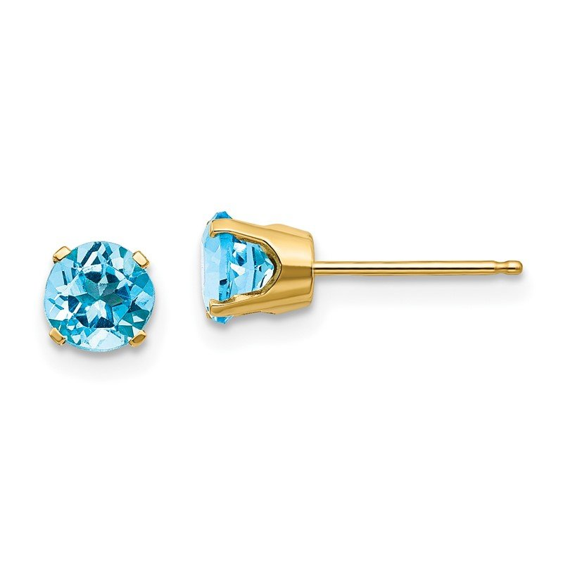 Quality Gold 14k 5mm Blue Topaz Earrings - December