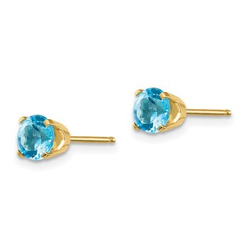 14k 5mm Blue Topaz Earrings - December