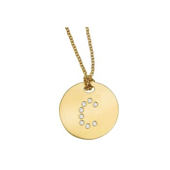 18Kt Gold Disc Pendant With Diamond Initial C