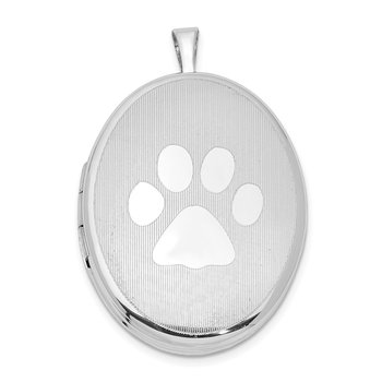 Sterling Silver Rhodium-plated Oval Satin & Polished Paw Print 26mm Locket