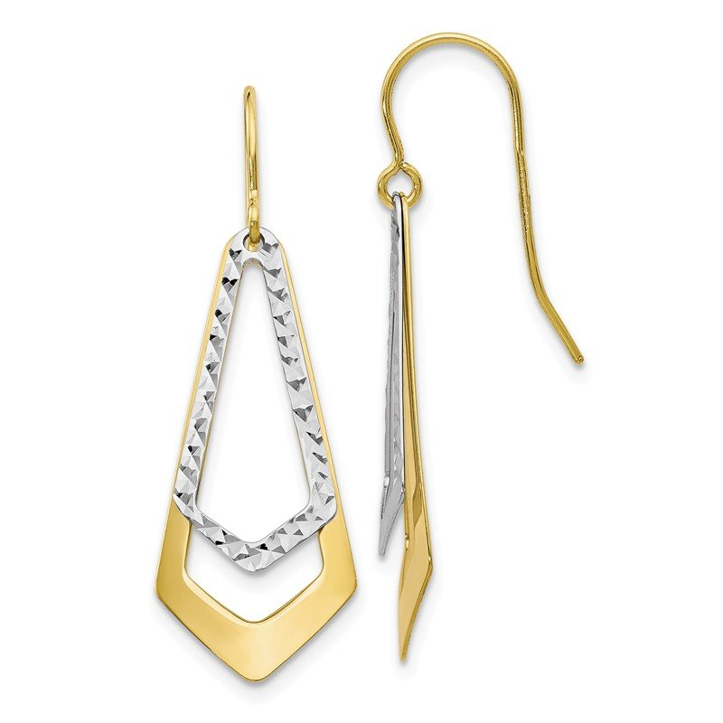 Leslie's Leslie's 10K Two-tone D/C Shepherd Hook Dangle Earrings