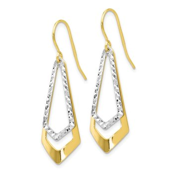 Leslie's 10K Two-tone Diamond-cut Shepherd Hook Dangle Earrings