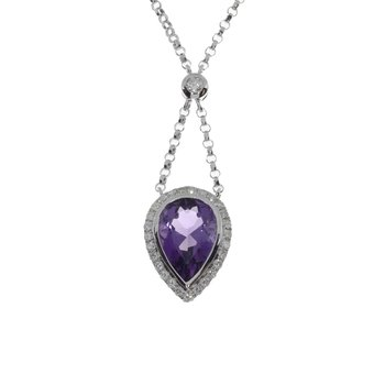 14k White Gold Large Pear Amethyst Pendant