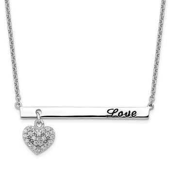 Sterling Silver Rhod-pltd CZ Heart w/Antiqued LOVE Bar Necklace