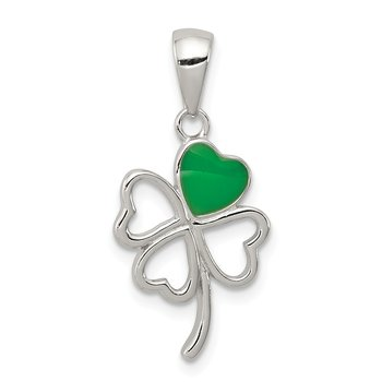 Sterling Silver Rhodium-plated Green Enameled Four Leaf Clover Pendant