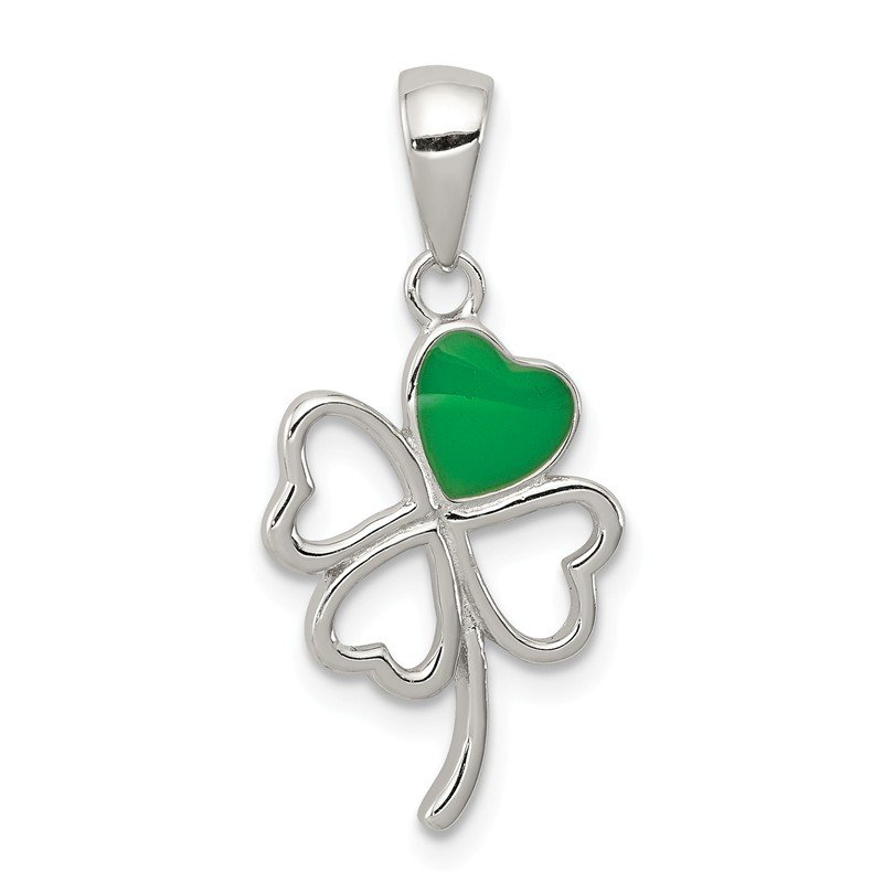 Quality Gold Sterling Silver Rhodium-plated Green Enameled Four Leaf Clover Pendant