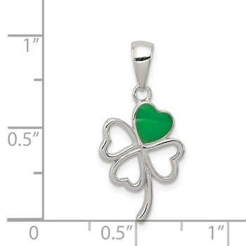 Sterling Silver Green Enameled Four Leaf Clover Pendant