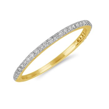 14K YG Diamond almost eternity Band in Prong Setting. 1/5 Cts