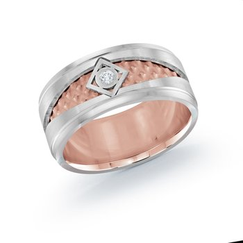 10mm two-tone white and rose gold center weave band, embelished with 0.03CT diamond