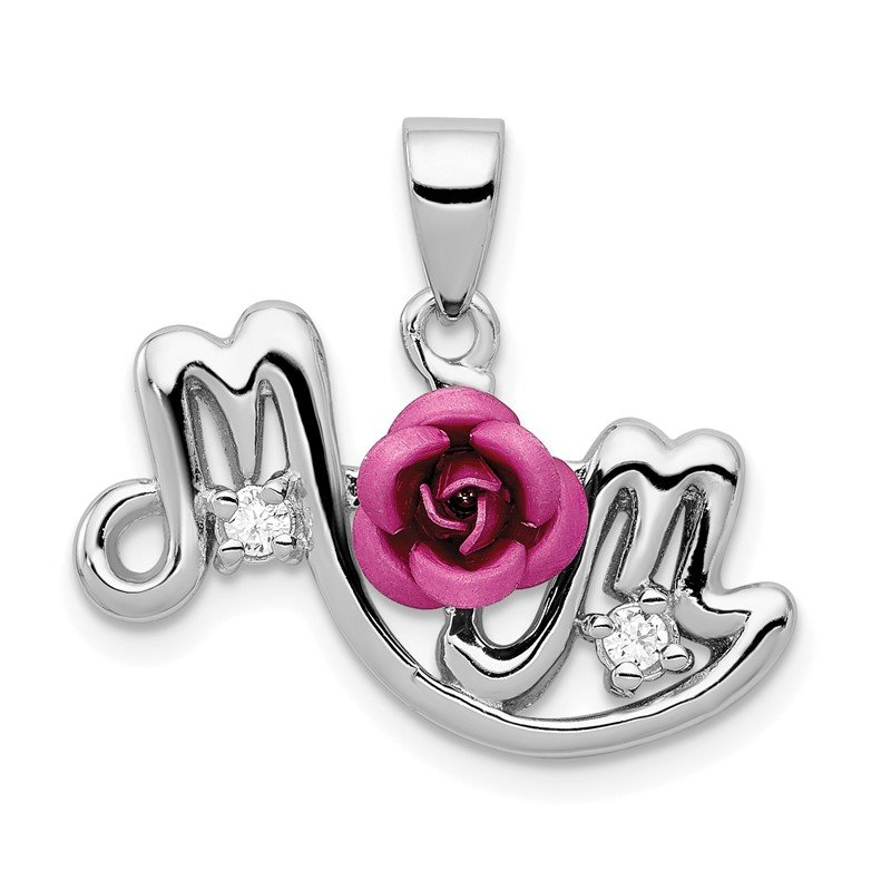 Quality Gold Sterling Silver Pink Flower & CZ Mom Pendant