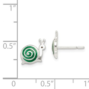 Sterling Silver Enameled Snail Post Earrings
