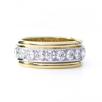 18kt Gold & Platinum Round Diamond Eternity Band