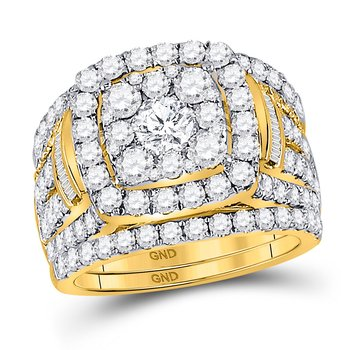 14kt Yellow Gold Womens Round Diamond Bridal Wedding Engagement Ring Band Set 4.00 Cttw