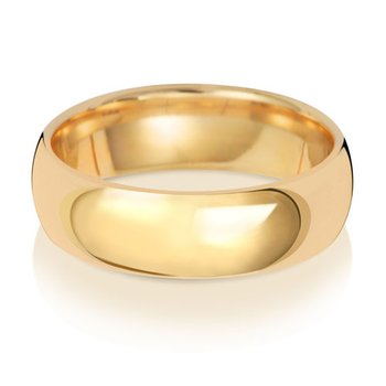 18Ct Yellow Gold 6mm Traditional Court Wedding Ring