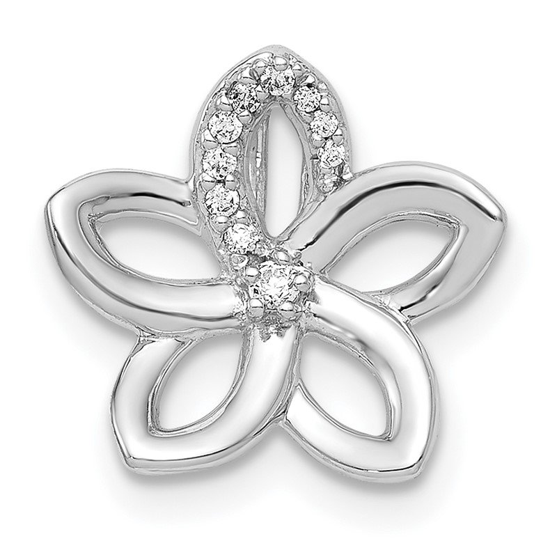 14k White Gold 1/20ct. Diamond Flower Chain Slide