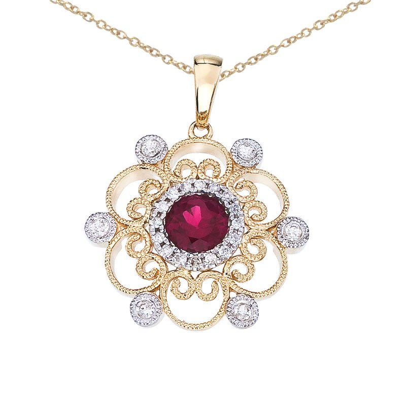 Color Merchants 14k Two-Tone Ruby and Diamond Filigree Pendant