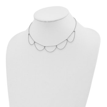 Sterling Silver Rhodium-plated Draped CZ w/2in ext Choker Necklace