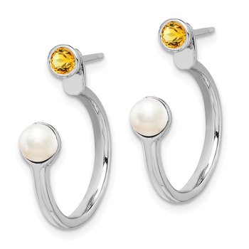 Sterling Silver Rhodium-plated FWC Pearl Citrine Front & Back Post Earrings
