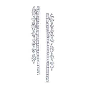 Diamond Double Line Miracle Marquise Earrings Set in 14 Kt. Gold