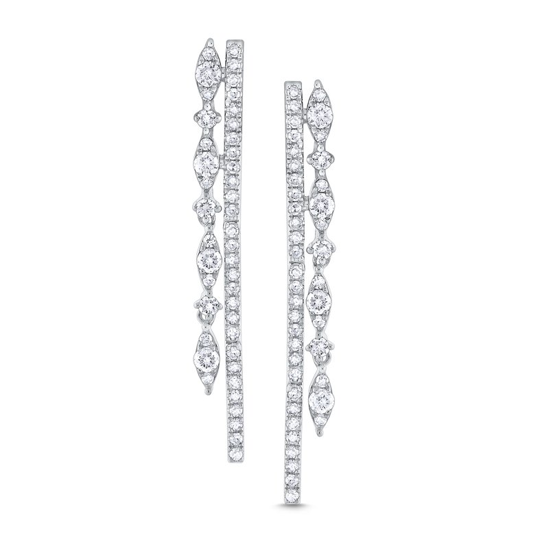 KC Designs Diamond Double Line Miracle Marquise Earrings Set in 14 Kt. Gold