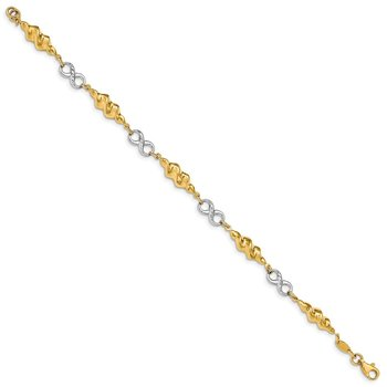 14K Two-Tone Infinity and Swirls Bracelet