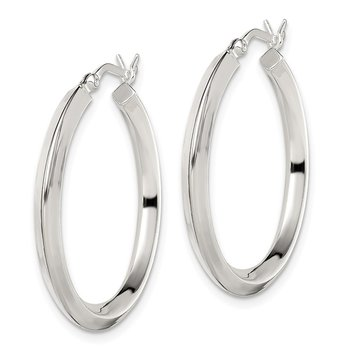 Sterling Silver 3x30mm Knife Edge Hoop Earrings