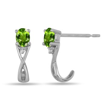 10K WG and diamond and Peridot infinity style birthstone earring