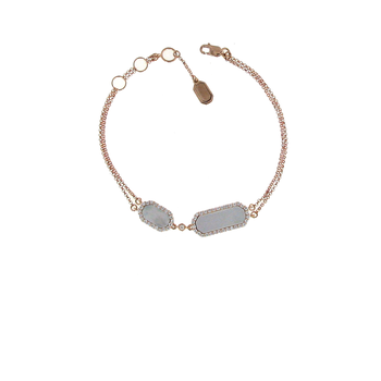 18KT GOLD DIAMOND AND MOTHER OF PEARL BRACELET