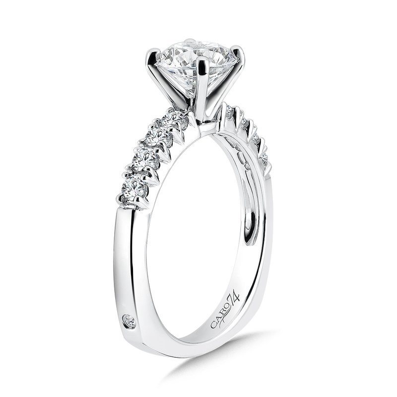 Caro74 Classic Elegance Collection Diamond Engagement Ring With Side Stones in 14K White Gold and Platinum Head (1-1/4ct. tw.)