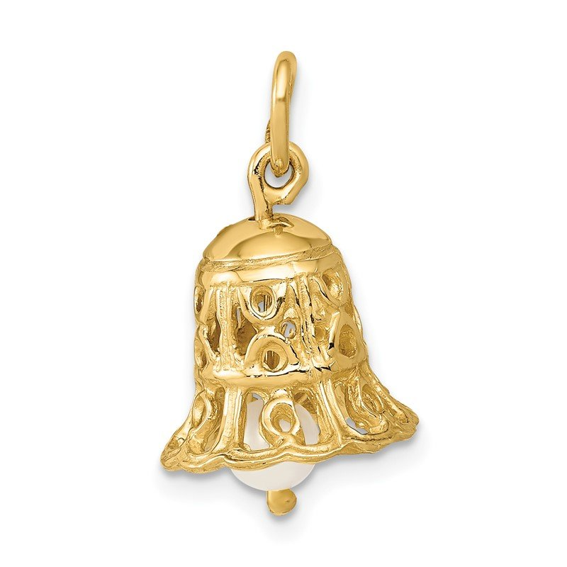 Quality Gold 14k 3D Wedding Bell w/ Fresh Water Cultured Pearl Charm