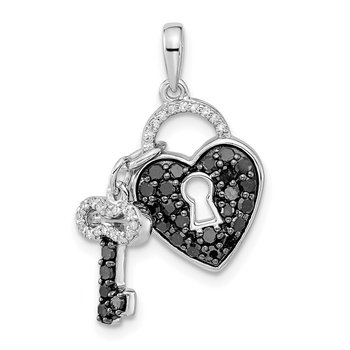 Sterling Silver Rhod Plated Black & White Diamond Pendant Necklace