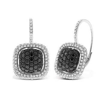 Black And White Diamond Large Cushion Earrings in 14k White Gold with 212 Diamonds weighing 1.30ct tw.