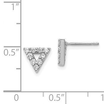 14k White Gold Diamond Triangle Open Earrings