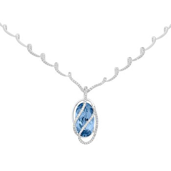 Aqua Blue Spinel Necklace-CN3989WAQ