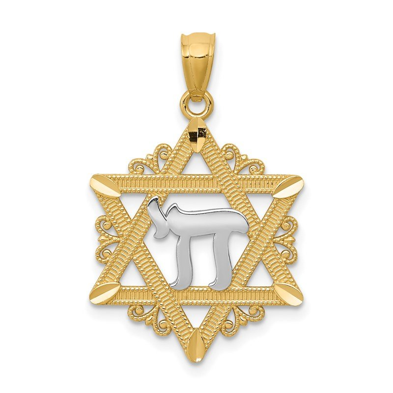 Quality Gold 14k w/Rhodium Star of David Pendant