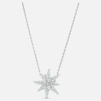 Edelweiss Pendant, Light multi-colored, Rhodium plated