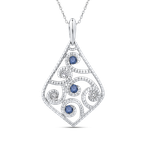 Essentials 10K White Gold 1/4 Ct Blue and White Diamond Fashion Pendant with Chain