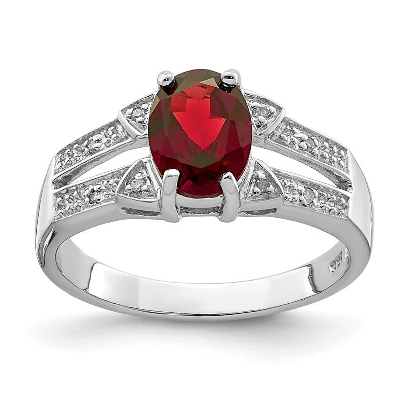 Quality Gold Sterling Silver Rhodium-plated Garnet & Diamond Ring