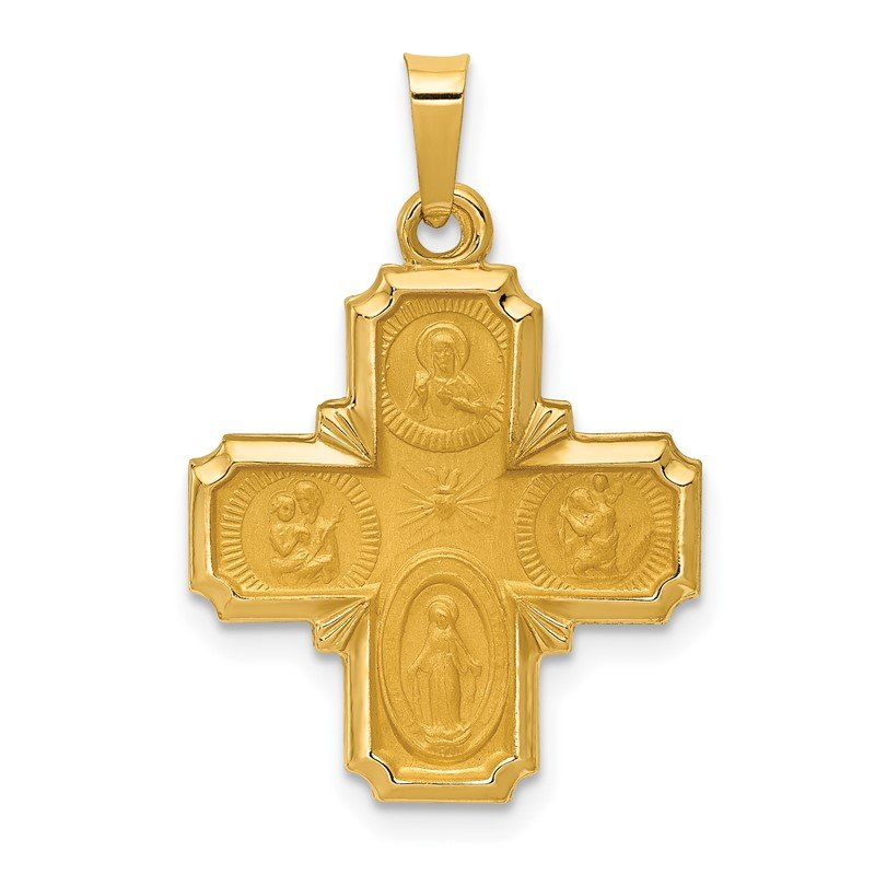 Quality Gold 14k Polished and Satin Four Way Medal Hollow Pendant