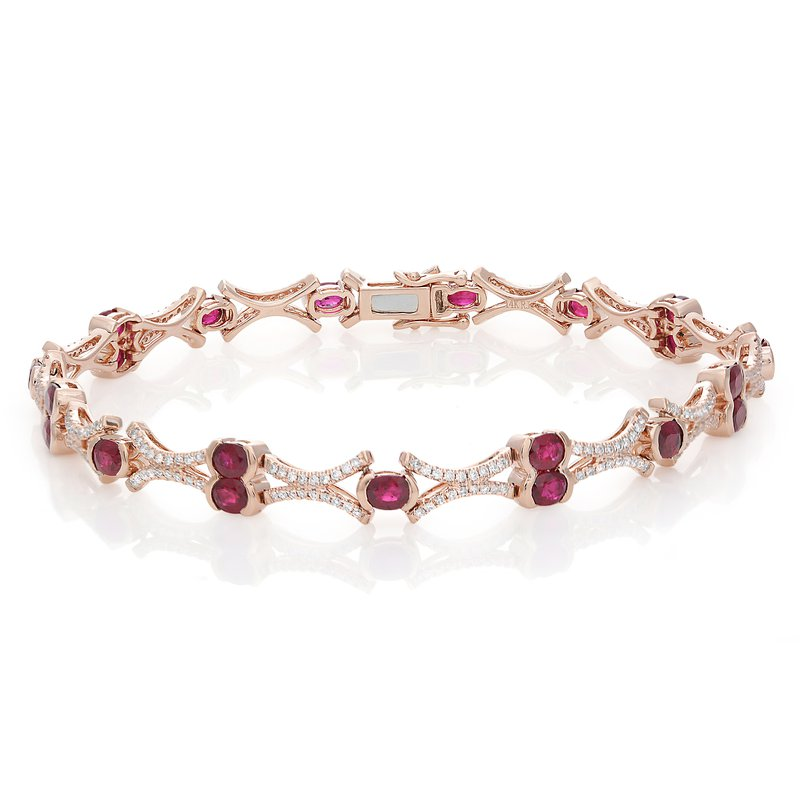 Roman & Jules Rose Gold Ruby & Diamond Tennis Bracelet