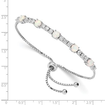 Sterling Silver RH-plated Created Opal and CZ Adjustable Bracelet
