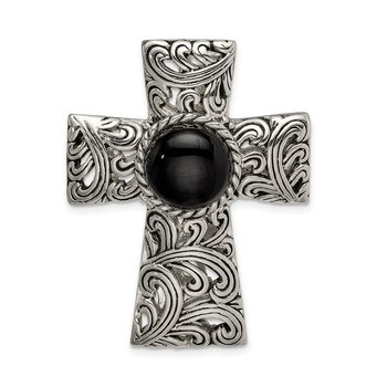Sterling Silver Antiqued Filigree Black Onyx Cabochon Slide