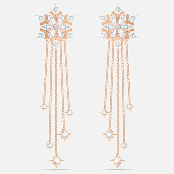 Magic Pierced Earrings, White, Rose-gold tone plated